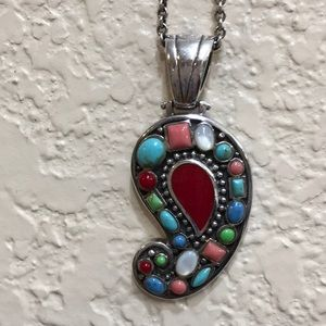 Gorgeous red & turquoise Barse pendant